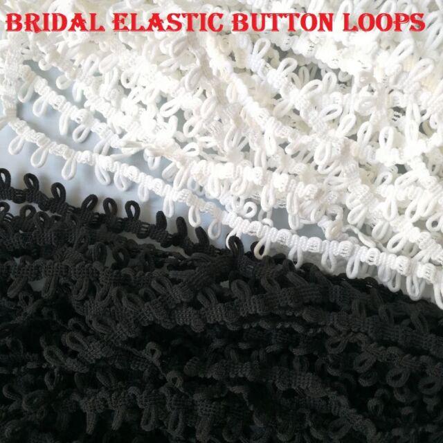 Elastic Button Looping Bridal 6 mm wide corset braid trim button