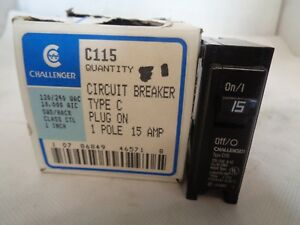 Challenger C115 15 AMP 1 Pole NEW Box of 12 Type C Plug-In Circuit Breaker