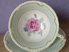 Vintage 1950's Paragon England pastel green bone china pink rose tea cup teacup