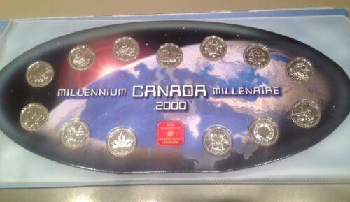 Canada 2000 Millennium Quarter Set UNC Medallion Complete In Case ~12 Coins