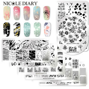 NICOLE-DIARY-Nail-Stamping-Plates-Image-Stamp-Template-Rectangle-Square-Round