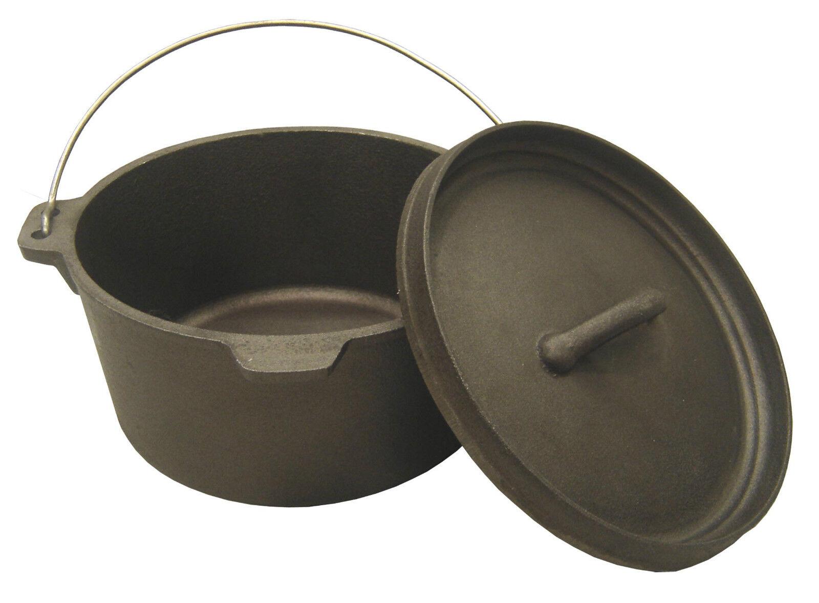 Cast Iron Dutch Dutch Dutch Camp Oven Lipped Lid 1,2.5, 4.5, 9, 9.5,12,16 Quart Camp Cooking d6a354