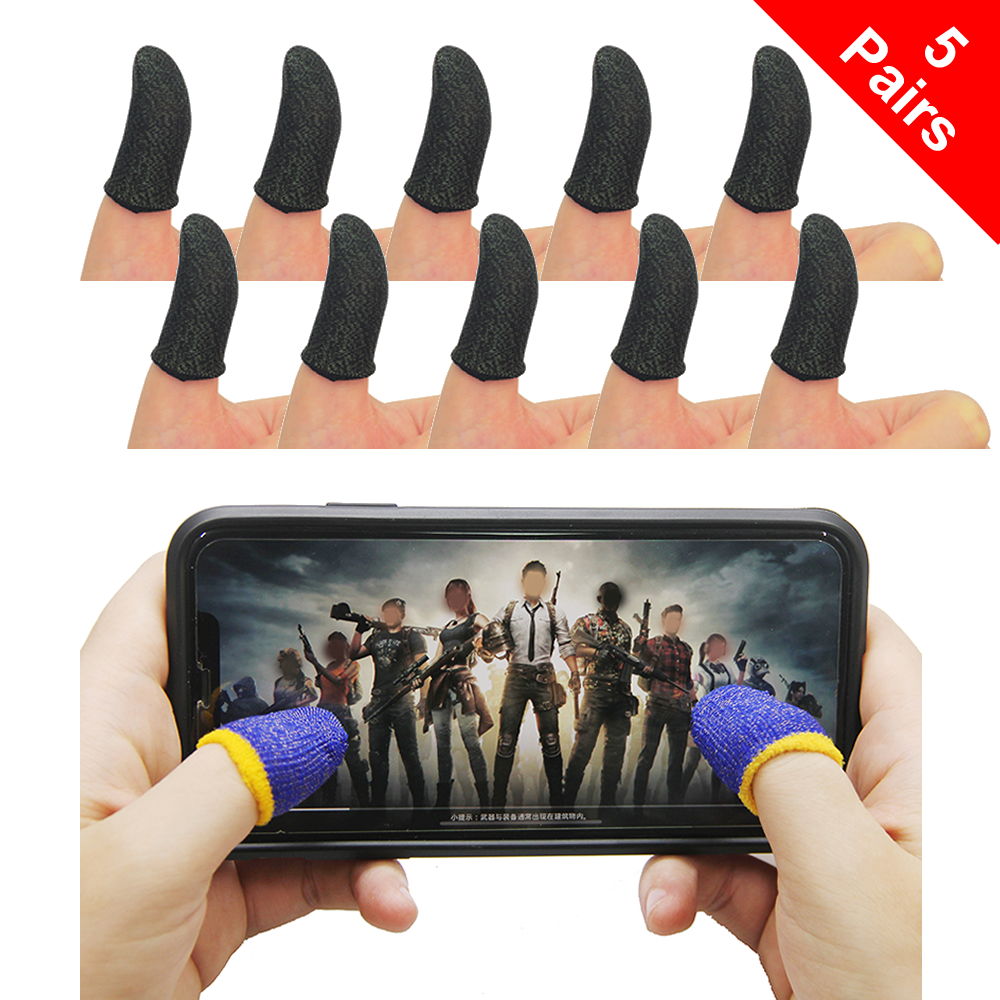 5-Pairs Thumb Finger Sleeve Mobile Game Sleeve Touch Screen Gaming Gloves PUBG