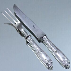 Frankreich-um-1900-Tranchier-Besteck-Louis-XIV-Stil-Silber-Messer-Gabel-950