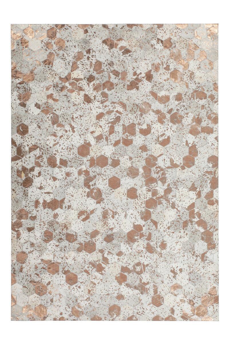 Tapis Flachflor Modern cuir fait main mettalik Effet Ivoire 120x170cm
