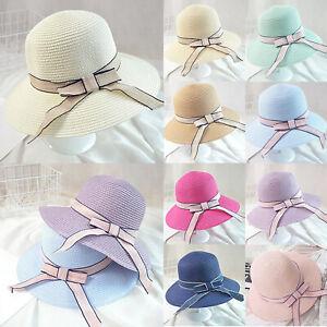 7ebf6fad6 Womens Straw Beach Hat Bowknot Sun Summer Wide Brim Hat Foldable ...