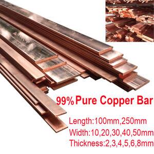 1 x 99/% Purity Copper Strip T2 Cu Metal Copper Bar Plate 2*10*250mm DIY CNC US