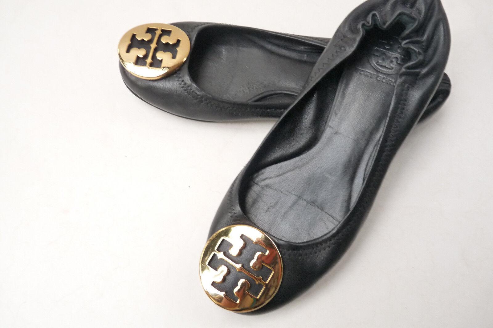 Authentic Tory Burch Reva nero With oro Leather Btuttiet Flats sautope Dimensione 4.5