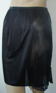 Black-Half-Slip-20-034-Long-Size-12-14-Lace-Trim-Side-Split-Short-Mini-Underskirt