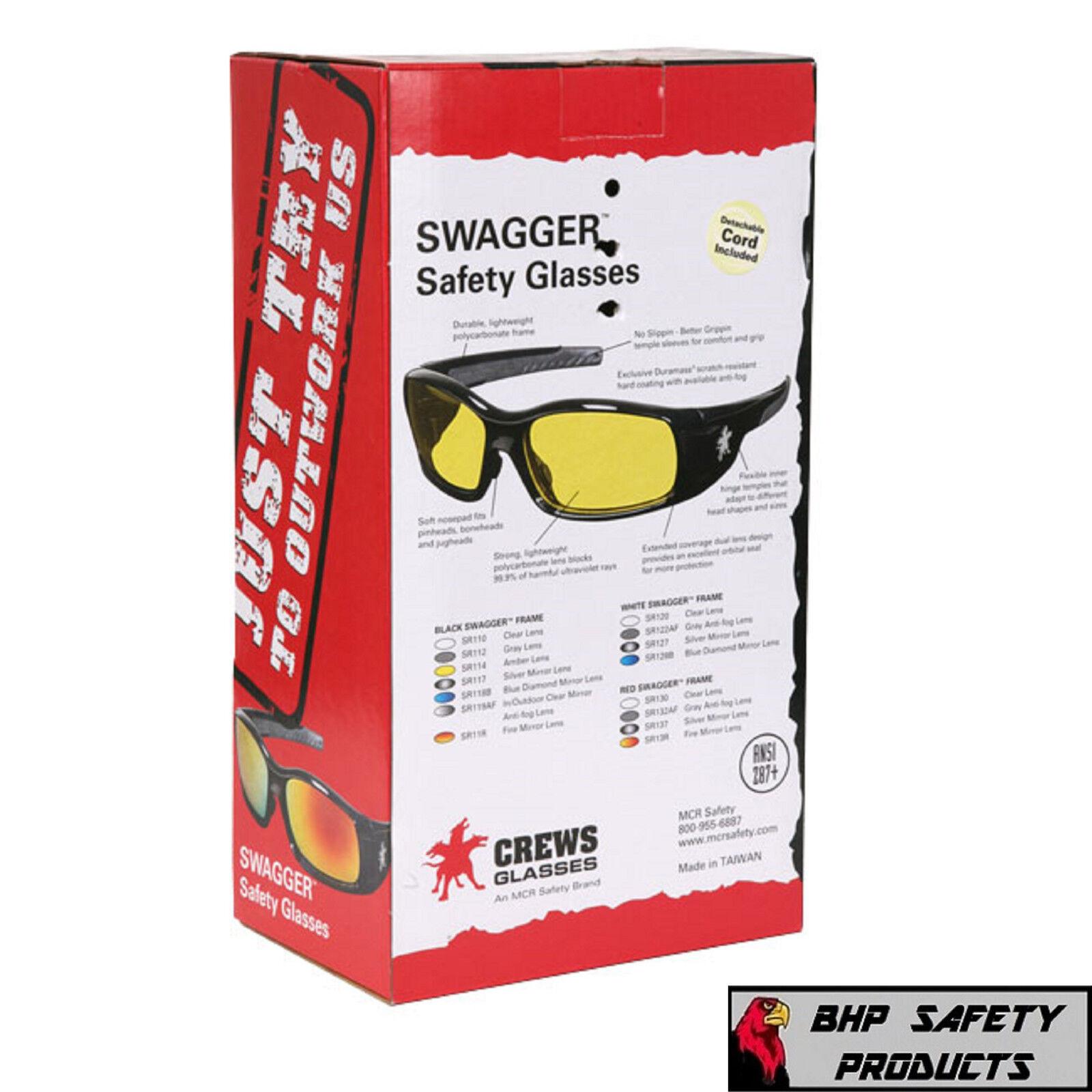 829b96be60c Crews Swagger White Frame Blue Mirror Lens Safety Glasses Sunglasses Z87  Sr128b for sale online