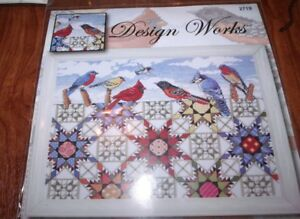 Design-Works-FEATHERED-STARS-Birds-amp-Quilt-Counted-Cross-Stitch-Kit-12-034-x-16-034