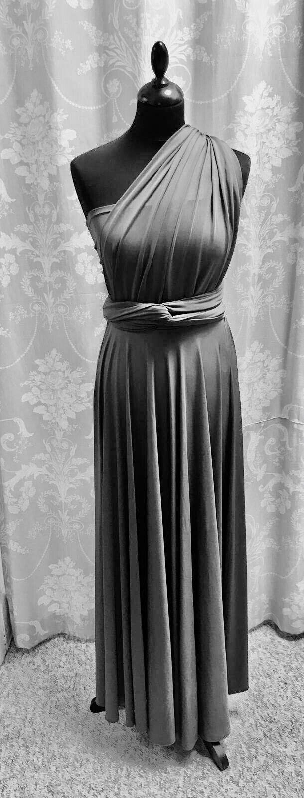 Bridesmaids Evening long Multiway Wrap dress+ Bandeau Dark Grey one size