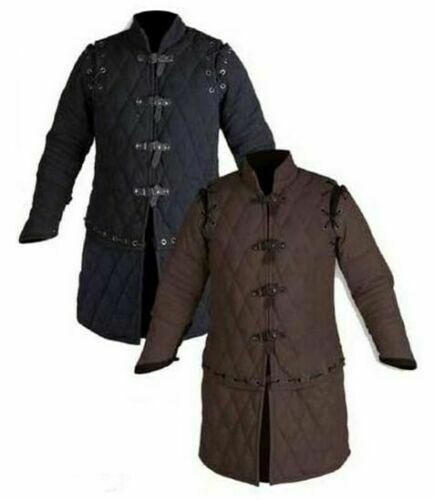 Medieval Thick Padded Full Length Sleeves Gambeson Coat Aketon Jacket Armor