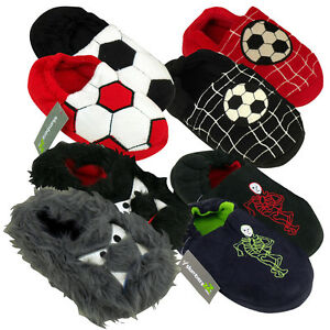 Childrens/Kids Boys Football Design Polar Fleece Slippers VE_9727