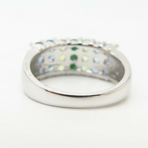 Details about  /925 Sterling Silver Real Tanzanite Peridot /& Emerald Gem 3-Row Ring