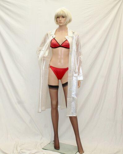 2XL3XL perle avec des taches blanches PVC Fashion VINYL RAINCOAT Mackintosh TV maîtresse