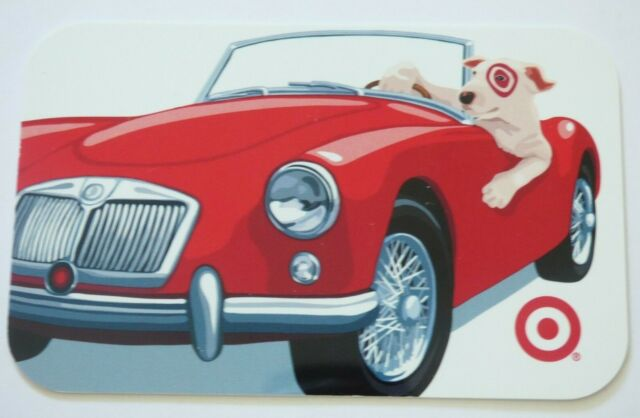 Target Gift Card Bullseye Dog Driving Red Car - A - 2007 - No Value - I Combine