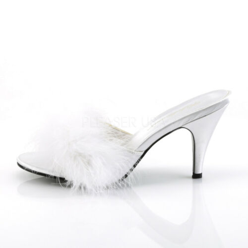 PLEASER FABULICIOUS Amour-03 White Satin Marabou Feather Drag Queen Ladies Shoes