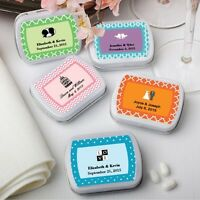 50 Personalized White Rectangular Mint Tins Wedding & Baby Shower Gift Favors on sale
