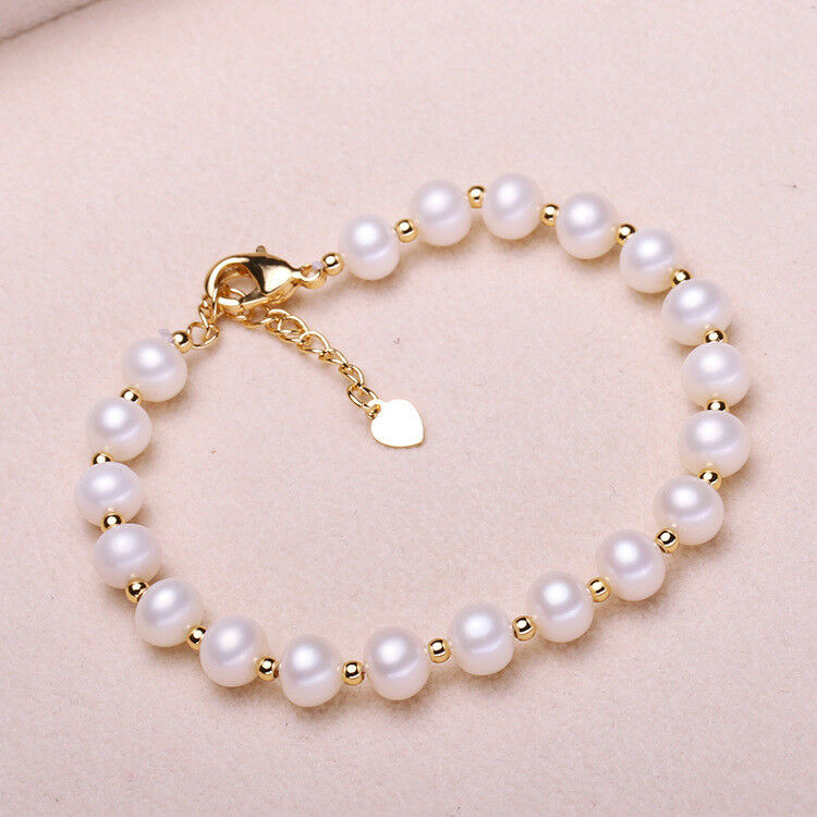 AAA 6-7MM NATURAL SOUTH SEA GENUINE White PEARL Bracelet