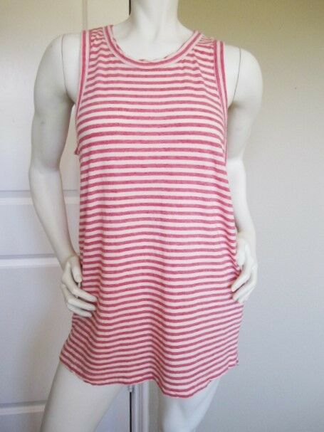 NWT CURRENT ELLIOTT 'THE MUSCLE TEE' RED ANCHOR STRIPE SLEEVELESS T-SHIRT Sz  3