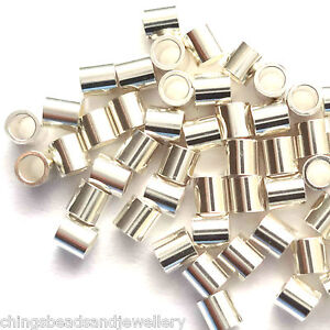 50-Sterling-Silver-Tube-Crimp-Beads-2x2mm-Findings-For-Jewellery-Making