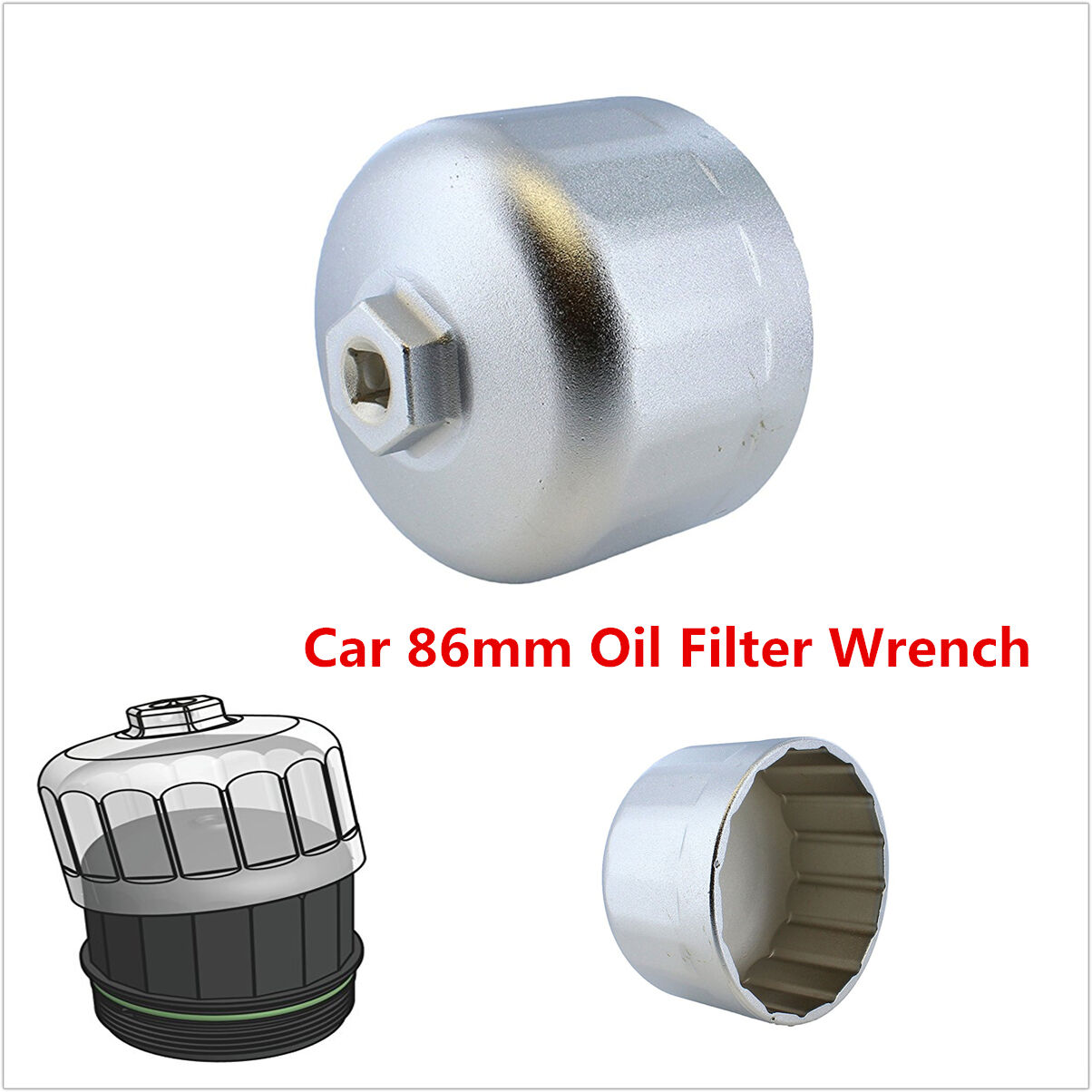 86mm Aluminum Cartridge Style Oil Filter Wrench Filter