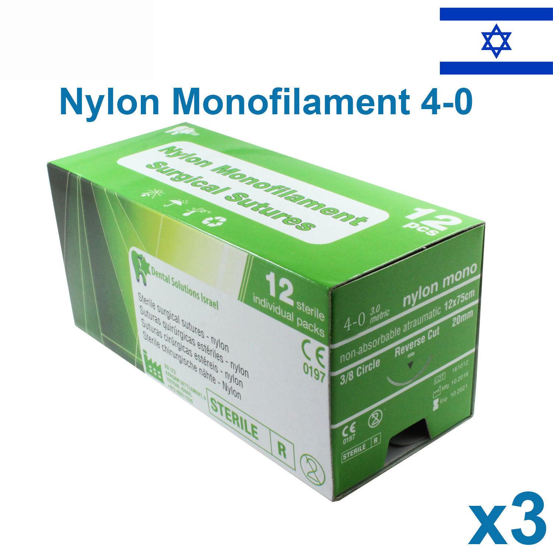 3x Nylon 4 0 Emergency First Aid Suture Home Wound Treat Trauma 12pcs