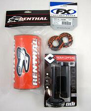 "Renthal Orange 1-1/8"" Fat Bar Pad Black ODI MX Grips Grip Donuts EXC XC SX SXF"