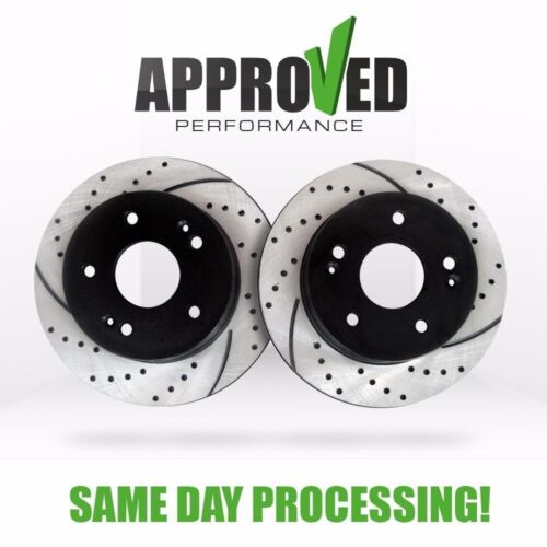 Front Set Drilled and Slotted Disc Brake Rotors Pair