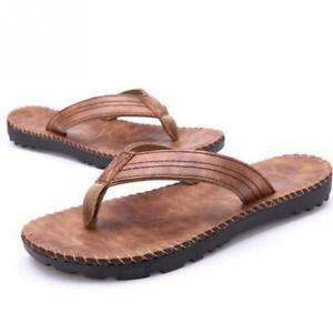 d0239128836d Men Pu Leather Flip Flops Outdoor Beach Sandals Anti-slip Flat ...
