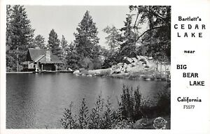 D98-Big-Bear-Lake-California-Ca-Postcard-Real-Photo-RPPC-Bartlett-039-s-Cedar-Lake