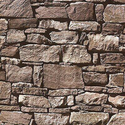 Feature Faux Brick Stone Wall Arthouse Church Stone Natural Wallpaper 697100