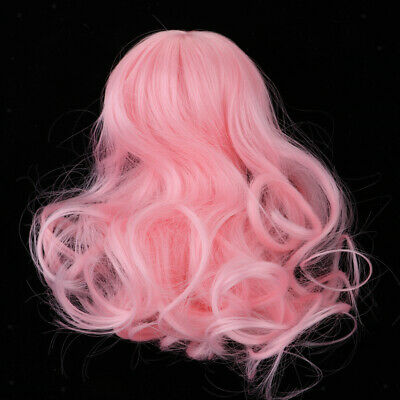 1//4 BJD Girl Doll Long Curly Wigs Pink Hair For Dollfie Hairstyle Hairpiece
