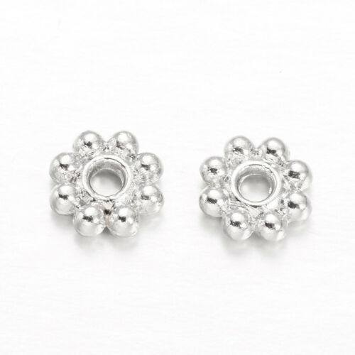 300 x Platinum Flower Alloy Bead Spacers For Jewelry Making 5x1.5mm Hole 1mm