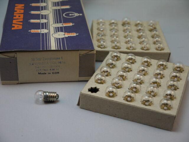 50 Taschenlampenbirnen Ersatzbirnen Zwergenbirnen 3,8V 0,07A  DDR E10 Glühbirnen