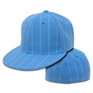 378f1e25358209 Sky Blue Pin Stripe Pinstripe Flat Fitted Baseball Cap Caps Hat Hats ...