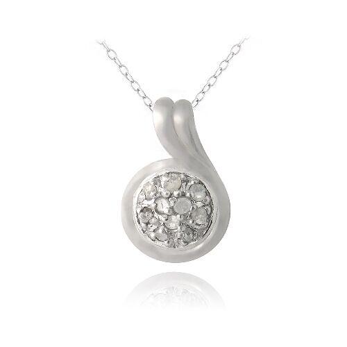 "18/"" 925 Argent 1//10ct Diamant Rond Swirl Collier"