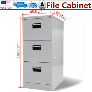 Details About 3 Drawer 40 4 Filing Cabinet File Storage Organizer Home Office Steel Lockable