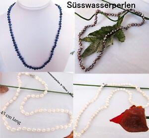 Suesswasser-Perle-Halskette-Collier-Perlenkette-Zucht-blau-weiss-anthrazit-Braut