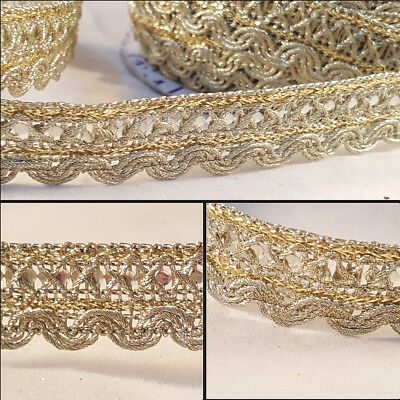 1.3cm Beautiful brown and gold lace trim for designing sewing arts 1 metre