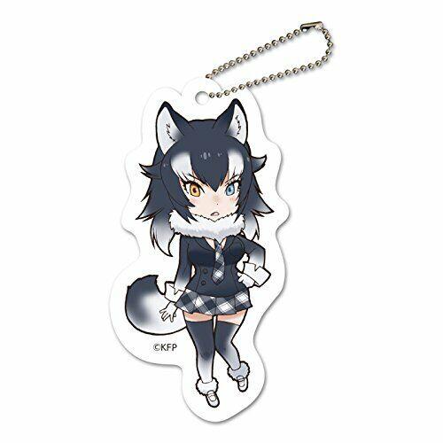 Kemono Friends fluffy felt key wolf chains gray