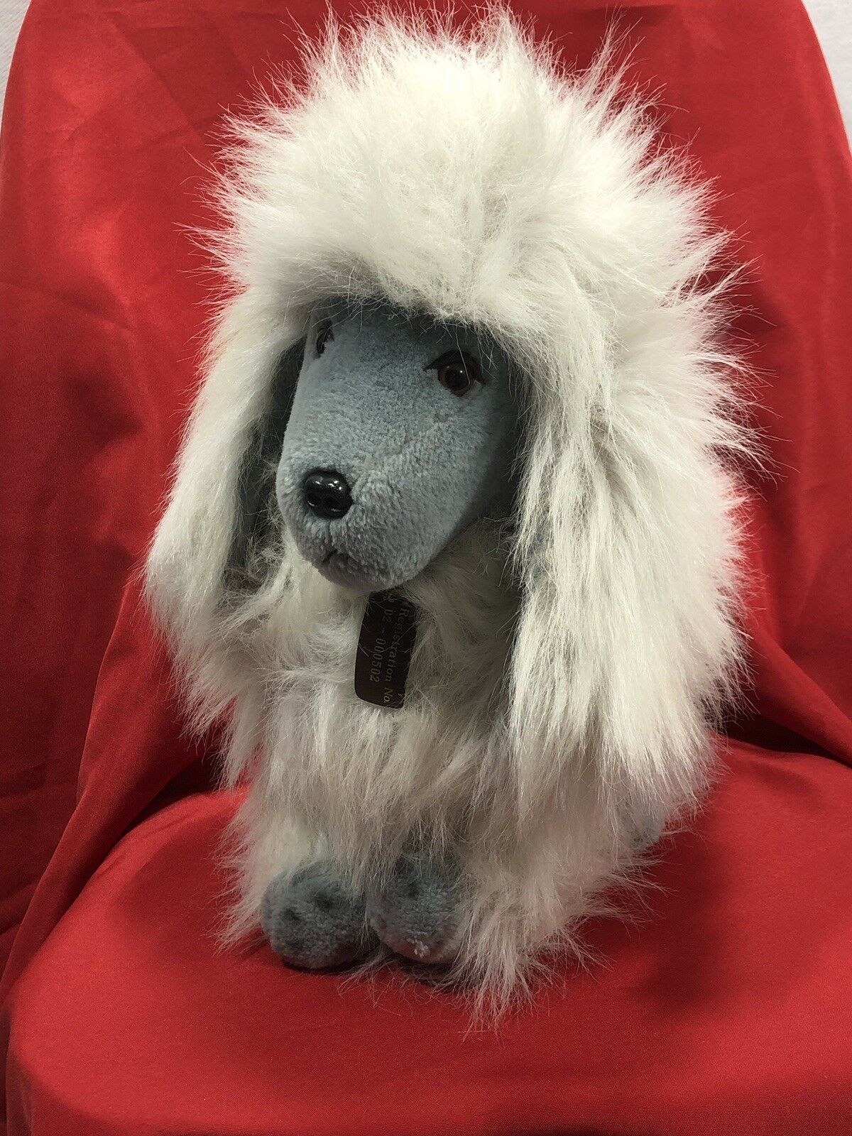 IKC Polar Puff 15  Poodle 24K White Grey Reg Number 02-000502 1985 Plush Stuffy