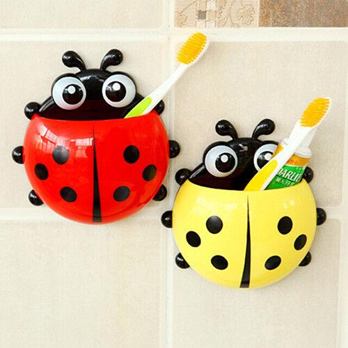 Charming Cartoon Ladybug Sucker Suction Hook Tooth Brush Holder For Kids FT HB