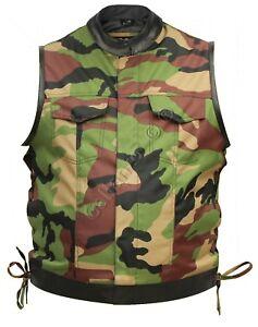good texture wholesale dealer best service Details about Military Camouflage & Cowhide Leather Cut off Mens Vest  Waiscoat Gilet Biker