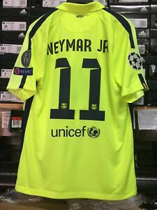 quality design 897a4 480f4 Details about Nike Fc Barcelona Third Jersey 14/15 Neon Navy Neymar #11  Size Mans Large Only