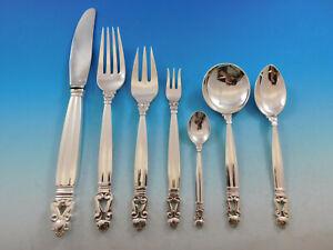Acorn-by-Georg-Jensen-Sterling-Silver-Dinner-Flatware-Set-12-Service-89-Pieces