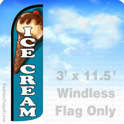 Windless Swooper Feather Flag Tall Banner Sign 3' Wide ICE CREAM BLUE  WHITE