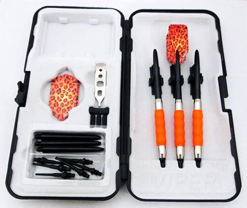 Orange Leopard Slim Rubberized Sure Grip Soft Tip Dart Set Case 18 gram 1