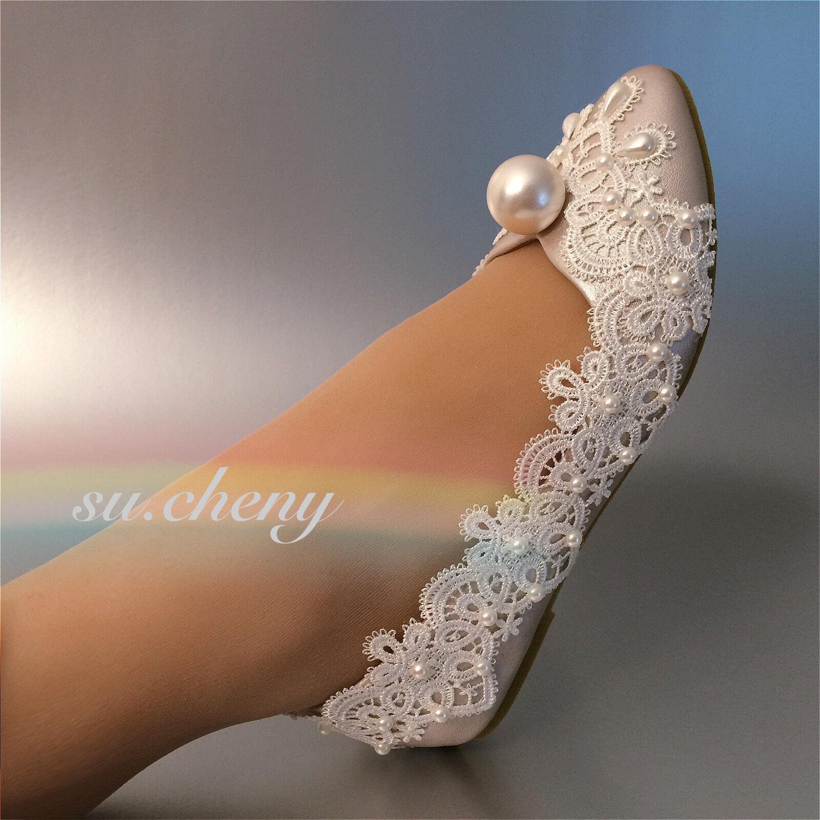 Champagne / white crystal lace big pearl flat bridal Wedding Scarpe size US 5-11